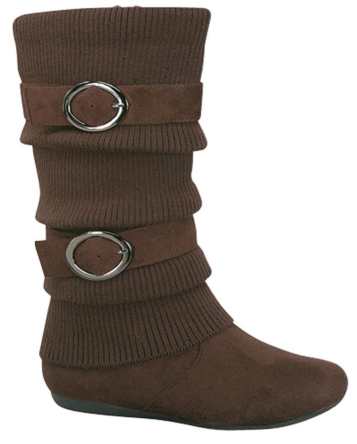 歩道知性是正[Top Moda] ミッドカーフフラットジッパーSlouch Boots tmbank-21ブラウン