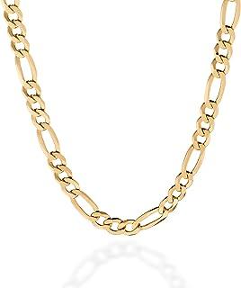 Quadri - Figaro Link Chain 7 mm in18K Gold Plated over 925 Sterling Silver Italian Necklace for Men Women Boys Girls - 18 ...