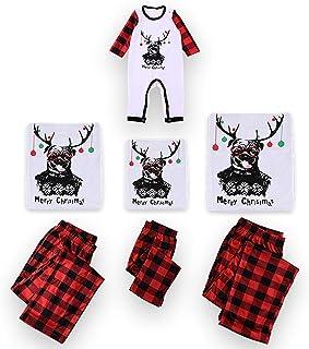 PowerFul-LOT® Family Matching Christmas Pajamas SetPlaid Deer Print Long Sleeve Tops+Pants,Parent-Child Sleepwear Home Lo...