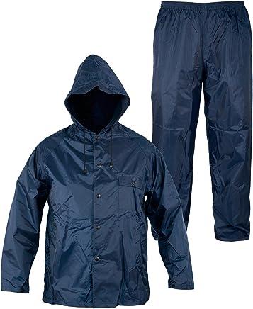 Tuta Antipioggia Completo Impermeabile Uomo Donna Cappuccio Blu XL