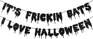Black Glittery It's Frickin Bats I Love Halloween Banner- Halloween Theme Party Decorations,Halloween Party Supplies,Mantl...