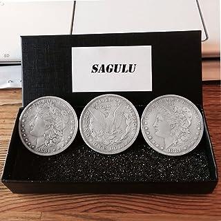 SAGULU【手品グッズ】マジックコイン モルガンダラーマジックコイン 手品の道具 薄いタイプ 直径3.8cm 3個セット