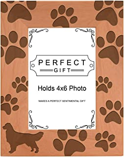 Gifts For All By Rachel Olevia Dog Lover Gift Golden Retriever Paw Prints Natural Wood Engraved 4x6 Portrait Picture Frame Wood