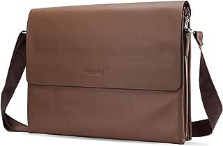 MODAN Tan Brown Leather Laptop Messenger Bag Case Cover Satchel for 14