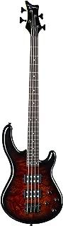 Dean 4 String Edge 2 Burled Maple Bass Guitar-Tobacco Burst (E2 BM TSB)