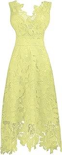 TalinaDress Women Tea Length Lace V Neck Sleeveless Bridesmaid Dresses Prom Gowns E244LF