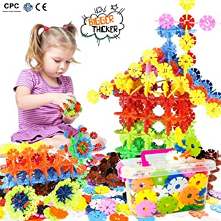 Building Block Toys, Snowflakes Diameter Bigger Interlocking Plastic Disc Set, A Creative and Educational Construction Toy - Best Toy for Boys and Girls 1.7 Inches (4.3 Centimeter)