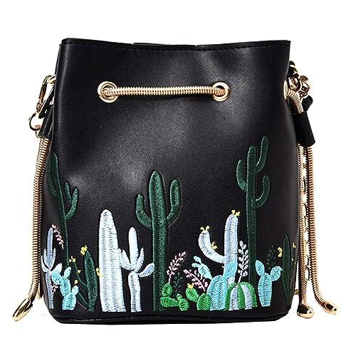 bd40377598d6 LABANCA Womens Mini Bucket Purse Floral Shoulder Bag with Drawstring Chain  Cross Body Bag