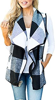Womens Sleeveless Woolen Jackets Lapel Casual Work Office Plaid Blazer Outerwear-Capes with Pockets