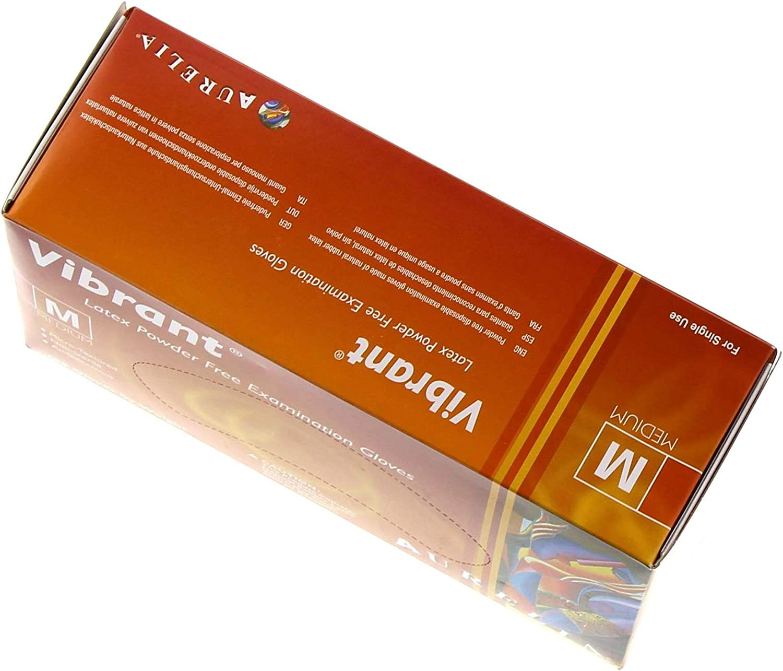 Size Box of 100 Gloves iDentalUSA Vibrant Powder Free Latex Exam Gloves Small S