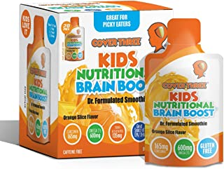 Kids Nutritional Brain Supplement with Immune Boosters - Healthy Brain Function, Vision & Heart Health - Omega Fish Oil DHA EPA, VIT C, Turmeric - Boost Child Memory & Focus - Liquid Squeeze Pouch