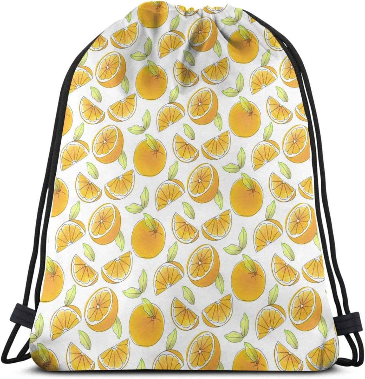 Very Max 79% OFF popular Yellow Oranges Slice Pattern Drawstring Travel Hiki Bag Backpack