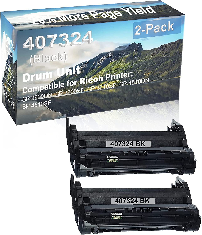 2-Pack (Black) Compatible SP 3600DN, SP 3600SF, SP 3610SF, SP 4510DN, SP 4510SF Printer Drum Unit Replacement for Ricoh 407324 Drum Kit