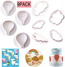 9Pcs Balloons and Cloud Cake Decoration Fondant Mold Set Hot Air Balloon Cookie Cutters for Chocolate Candy Baking Pastry Cookie Sugar Craft