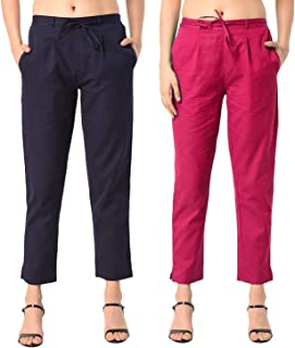 Shararat Women Cotton Cigarette Pants Combo with Narrow Bottom/Fashionable Cotton Slim Fit Straight Casual Trouser Pants f...
