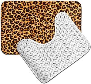HRHT Leopard Print Animal Skin 2 Piece Bathroom Rug Set, Non Slip Bath Mats and Contour Bath Rug Combo