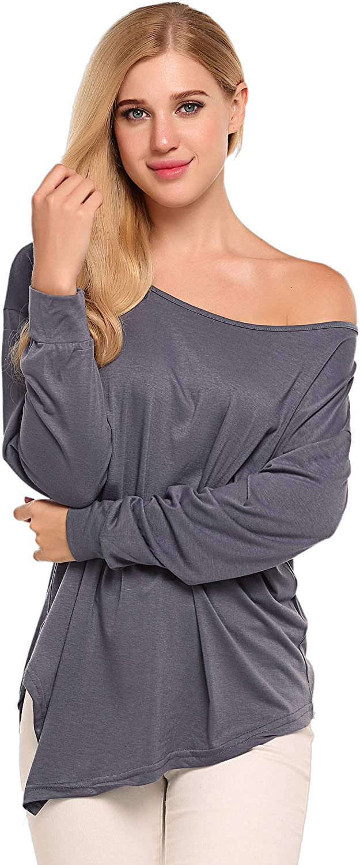 UNibelle Womens Off Shoulder Blouse Loose Batwing Sleeve Tops