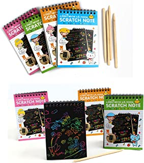 4Pack IFFree Rainbow Scratch & Sketch Note Pads, Scratch Rainbow Mini Notes With Stylus Scratch Paper 10 Pages, Small Size.(Four Colours, with four Stylus and Style is random)