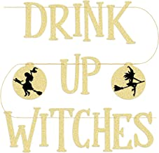 xo, Fetti Drink Up Witches Halloween Decorations Banner - Pre Strung - Adult Halloween Party Supplies Sign