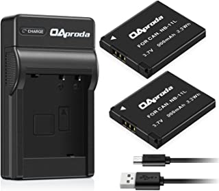OAproda 2 Pack NB-11L/ NB-11LH Battery and USB Charger for Canon PowerShot ELPH 180, ELPH 190 is, SX420 is, SX410 is, SX400 is, A4000 is, Elph 360 HS, ELPH 170 is, ELPH 160, ELPH 150 is, ELPH 140 is