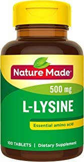 Nature Made L-Lysine 500 mg Tablets, 100 Count for Protein Synthesis† (Packaging May Vary)