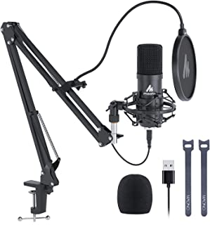USB Microphone, MAONO 192KHZ/24Bit Plug & Play PC Computer Podcast Condenser Cardioid Metal Mic Kit with Professional Soun...
