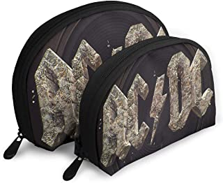 BeatriceBGault ACDC Rock Or Bust Women's A Pair Waterproof with Zipper Travel Cosmetic Bag Makeup Clutch Pouch