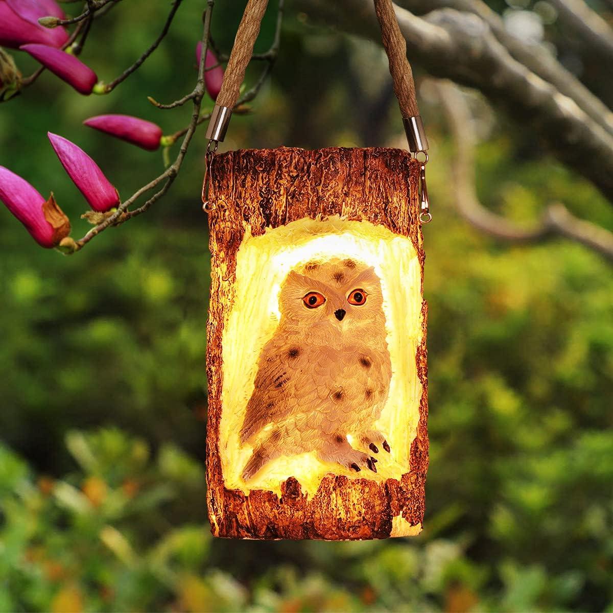 Solar Lights Outdoor Decorative, BUCASA Owl Solar Garden Lights Hanging Solar Lantern, Waterproof, Auto On/Off, Bright Solar Powered Outdoor Lights for Patio Yard Landscape Garden Decor