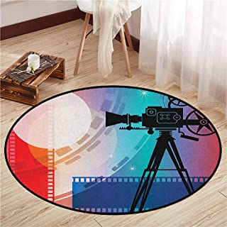 Non-Slip Round Rugs,Cinema,Colorful Projector Silhouette with Movie Reel Vintage Design Entertainment Theme,Sofa Coffee Table Mat,4'7