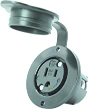 Journeyman-Pro 5279 15 Amp 120-125 Volt, NEMA 5-15 Flanged Outlet, Black Commercial Grade, 2 Pole-3 Wire, Straight Blade Plug Charger Receptacle (w/Front Cover)