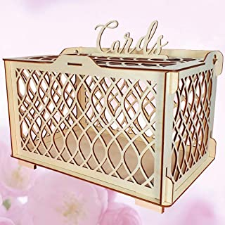 Wedding Card Box for Reception - Rustic Wood Card Box for Receptions, Parties, Birthdays, Baby Showers and More - Beautiful Wedding Decoration for Reception - Perfect Wedding Card Holder (Rustic Wood)