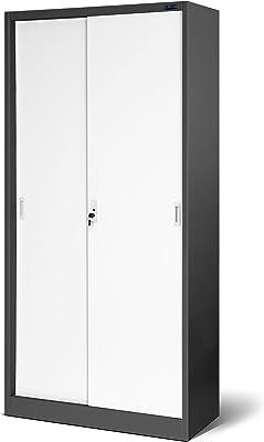 Jan Nowak by Domator24 Armoire de Bureau à Portes coulissantes SD001 tôle d'acier étagères revêtement en Poudre verrouillable 185 cm x 90 cm x 40 cm (Anthracite/Blanc), Métal, Anthrazit/Weiß