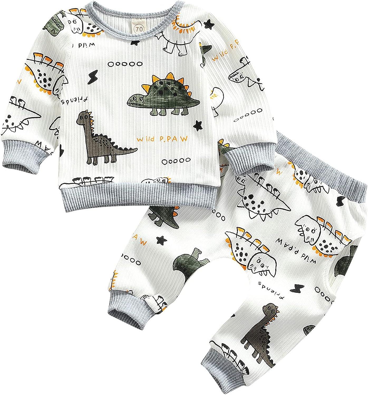 Baby Boy Fall Winter Clothes 2PCS Dinosaur Long Sleeve Sweatshirts Tops and Pants Newborn Outfits Set