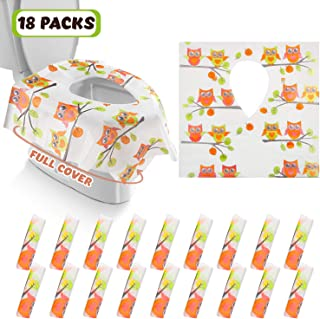 Gimars XL Large Full Cover Disposable Travel Toilet Potty Seat Covers - Individually Wrapped Portable Potty Shields for Adult, The Pregnant, Kids and Toddler Potty Training, 18 Packs (Owl Design)