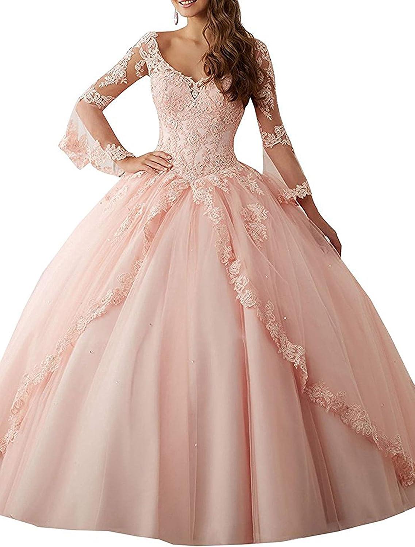 Annadress Women's Long Sleeve Lace Quinceanera Dresses Train VNeck Ball Gown