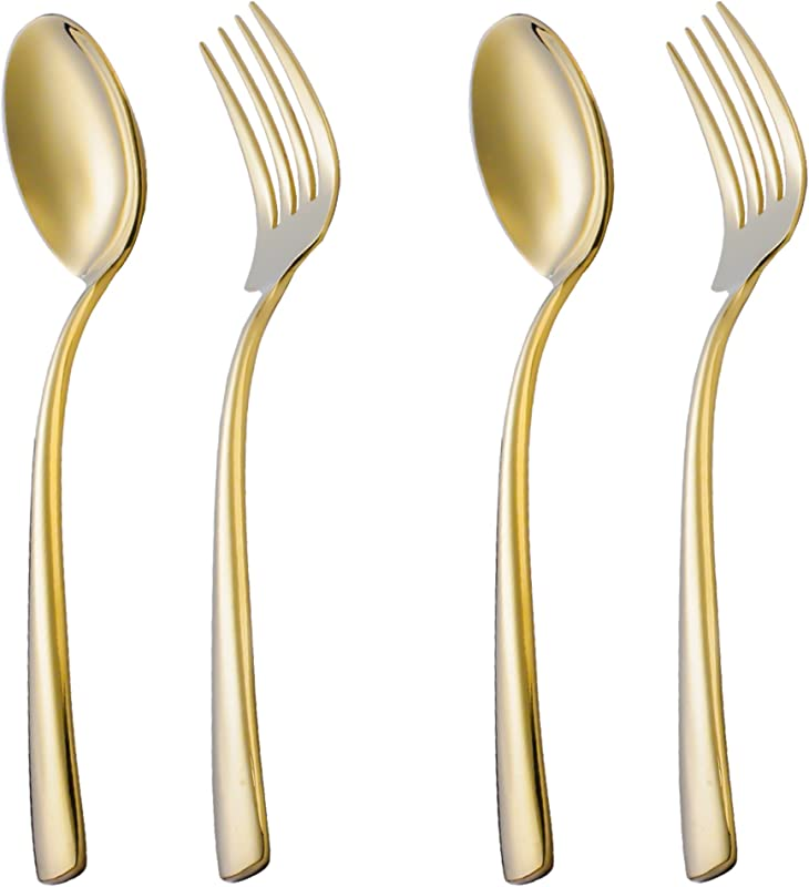 Onlycooker 4 Piece Gold Serving Spoon And Serving Fork In 2 Set 8 8 Inch Stainless Steel Serving Utensils Silverware Flatware For Buffet Banquet Large Mirror Polished Dishwasher Safe