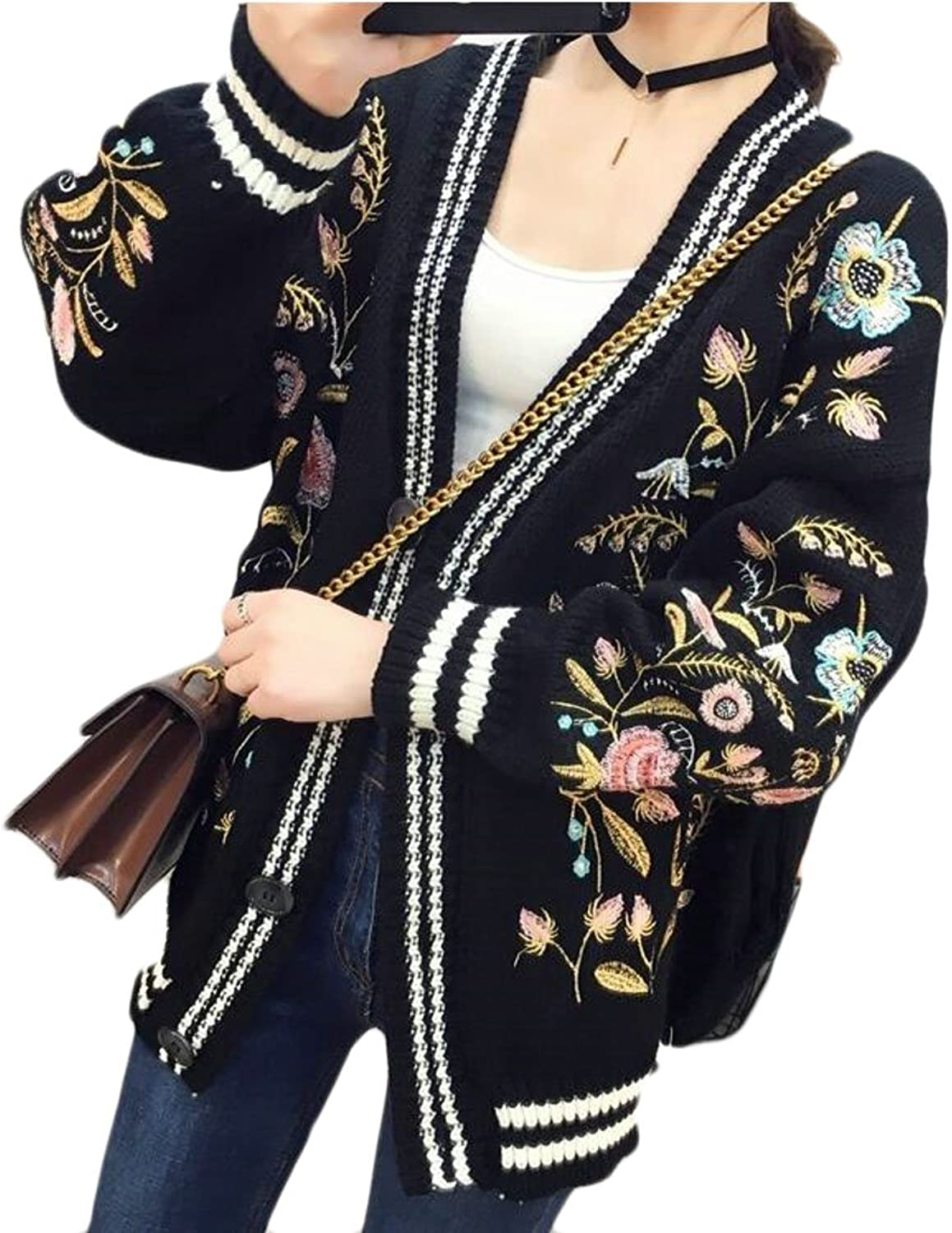 HTOOHTOOH Womens Autumn Winter Embroidery Ethnic Style Knitted Cardigan Sweaters