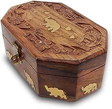 IndiaBigShop Hand Carved Wooden Trinket Box Keepsake Jewelry Organizer Box with Single Elephant Brass Inlay & Velvet Interior 6 X 4 Inch