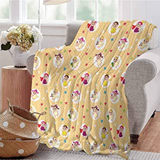 KFUTMD Soft Lightweight Blanket Childhood Baby Nursery Kids Motherly Love Playroom Toddler Polka Dots Graphic Pale Yellow White Bedroom Dorm Sofa Baby Cot Beach W40 xL60
