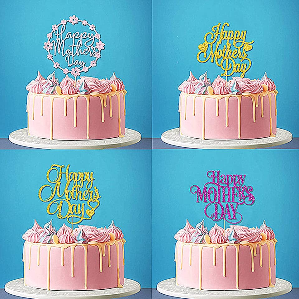 4-Pack Golden Pink Purple Mother's Day Cake Topper Set, Double-Sided Shiny Glitter Paper Happy Mother's Day Sign Cake Toppers/Cupcake Toppers, Birthday Party Decorations Party Supplies for Cool Guy