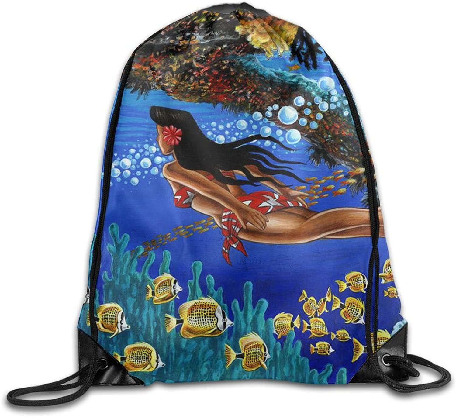 VIMMUCIR Black Girl Swimming in Hawaii Drawstring Backpack Rucksack Shoulder Bags Training Gym Sack for Man and Women