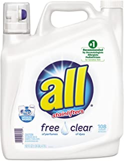 Johnson Diversey All Free Clear 2X Liquid Laundry Detergent, Unscented, 162 Oz Bottle, 2/Carton, New