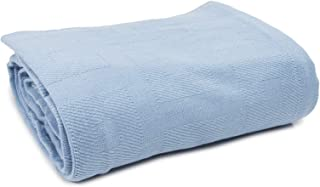 Linteum Textile (74x100 in, Blue) Hospital Thermal SNAGLESS Spread Blanket, 100% Cotton