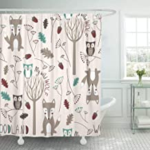 Emvency Fabric Shower Curtain with Hooks Baby Cute Woodland with Wolf and Owl in Childish Cartoon Style Pattern Fills Floral Kid 72