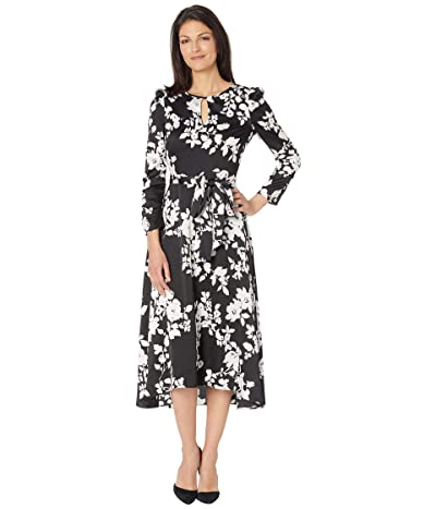 Tahari by ASL Long Sleeve Hammered Satin Midi Dress with Hi Low Hemline Women