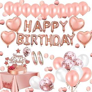 AivaToba Verjaardagsdecoratie roségouden decoratie, Happy Birthday Decorations slinger ballonnen, roségouden confettiballo...