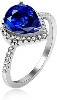 Uloveido 925 Sterling Silver Teardrop Shaped AAA Cubic Zirconia CZ Halo Promise Engagement Ring for Her (Size 5 6 7 8 9 10) JZ116
