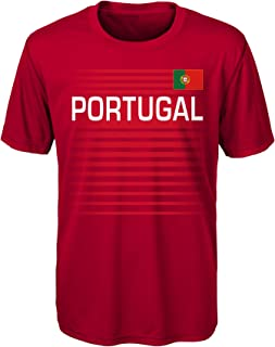 Outerstuff International Soccer Portugal Youth Boys One Team Performance Short Sleeve Tee, XL(18), Dark Red