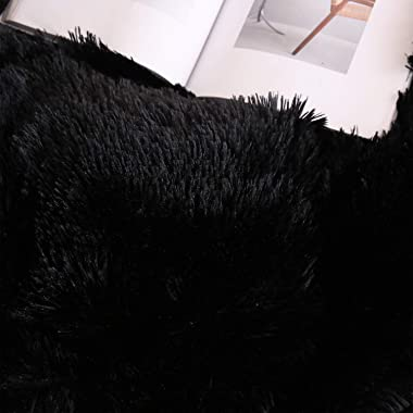 XeGe Plush Shaggy Duvet Cover Luxury Ultra Soft Crystal Velvet Bedding 1PC(1 Faux Fur Duvet Cover),Zipper Closure (Queen, Bla