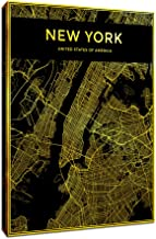 DVQ ART Canvas Prints for Living Room New York City Map on Canvas Black Map Wall Art Pictures for Walls Golden Line Maps Artwork Mural for Office Decor Ready to Hang 16